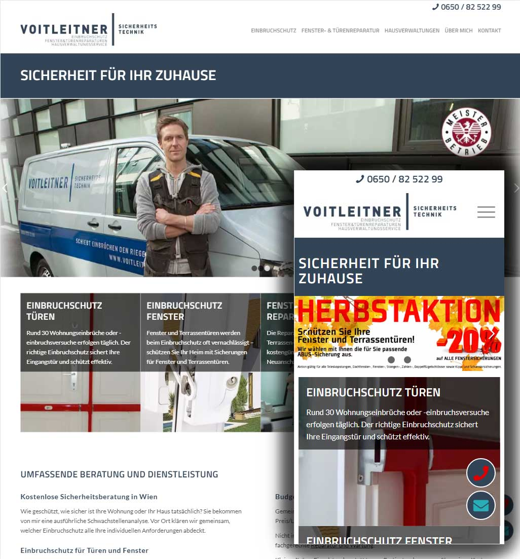 Voitleitner Sicherheitstechnik: Website, Google Ads, SEO, Corporate Design